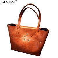 Воск нефть кожа известный дизайн ретро сумка комплект большие сумки с карманными дамы сумка BWA0006-D