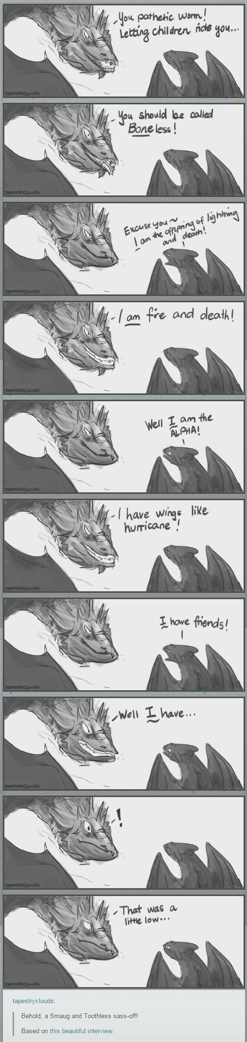 Smaug and Toothless sass off   How To Train Your Dragon   Hobbit