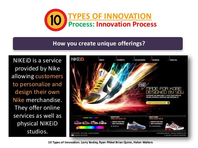 TYPES OF INNOVATION  Process: Innovation Process  How you create unique offerings? NIKEiD is a service provided by Nike al...