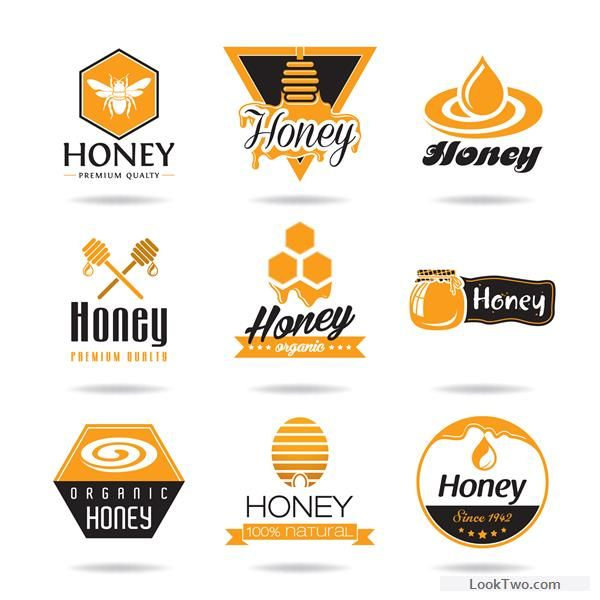 Creative honey logos desing vector 02 free vector download