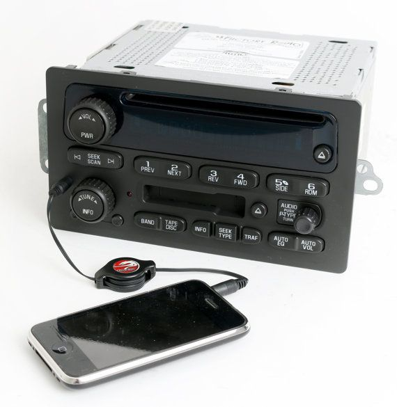 Chevy GMC 2003 to 2005 S10 Truck Van Radio - Am Fm Cd Cassette Player Upgraded with Aux Input - 15104156 - Silverado Sierra Tahoe S10 Envoy