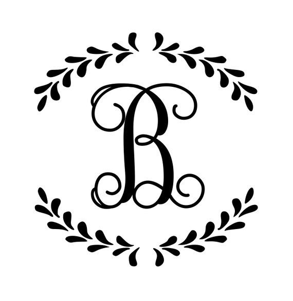 Vine Font One Initial Small Monogram Decal Single Letter Etsy Monogram Stencil Monogram Decal Cricut Monogram