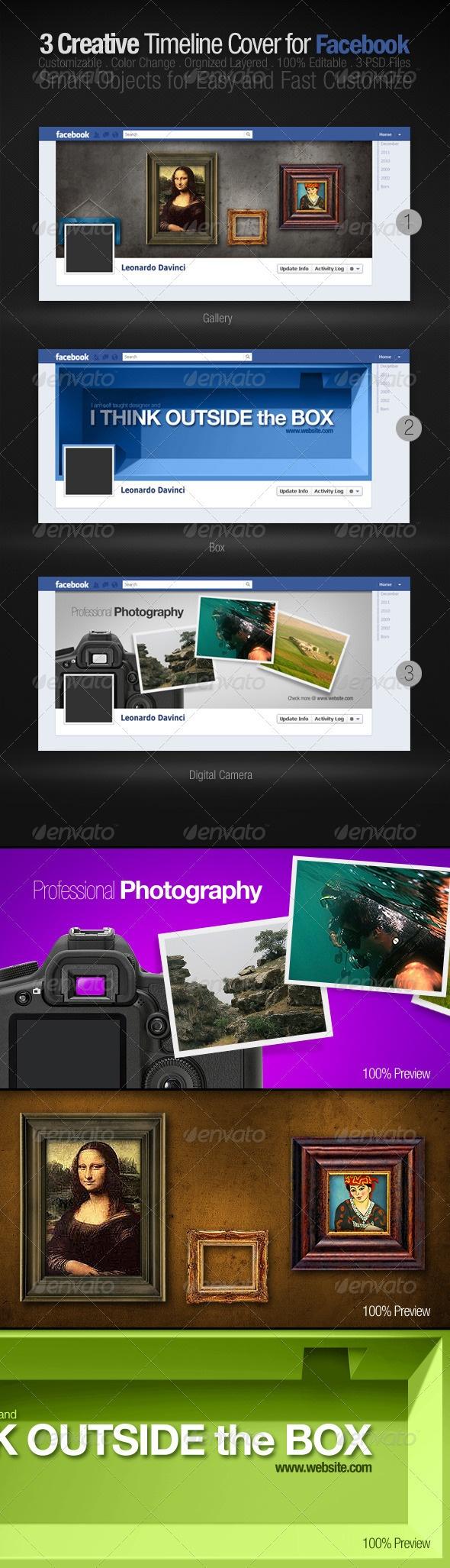 3 Creative Facebook Timeline Covers $4.00