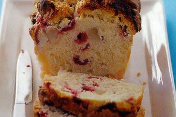 Pear & raspberry coconut bread - So yummy and tastes great served warm with honey marscapone.