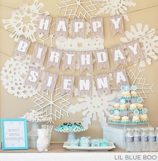 A Frozen Winter Birthday Party Free Printables with Snowflakes and Snowmen in Turquoise, Light Blue, Grey and White via Ashley Hackshaw / lilblueboo.com #frozen