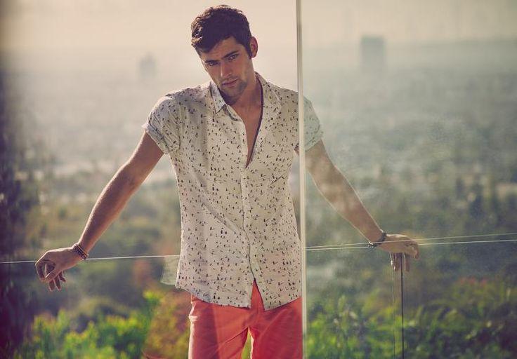 mode-été-2015-chemise-courte-manche-pantalon-corail