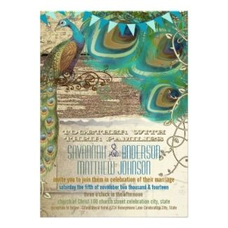 country chic wedding invitations | Winter Wedding Invitations - Country Chic Bunting Peacock Vintage Old ...