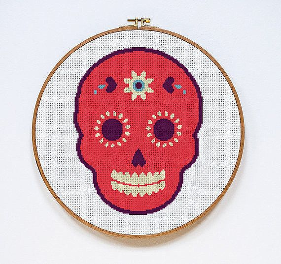 Pink Candy Skull Day of the Dead | Digital Download | Cross Stitch Pattern | by Stitches of Creation, $4.50 USD