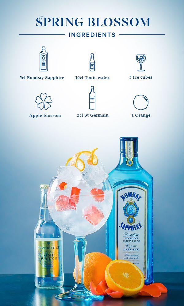 Spring Blossom: 1. Fill glass with ice cubes, add 5cl Bombay Sapphire and top off with tonic water and St. Germain. 2. Garnish with an orange zest and apple blossom.