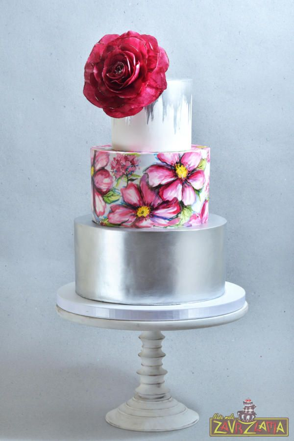 Painted Floral Wedding Cake by Nasa Mala Zavrzlama - http://cakesdecor.com/cakes/259701-painted-floral-wedding-cake