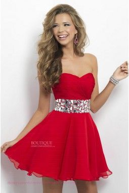 Casual A-line Sweetheart Short/Mini Chiffon Red Homecoming Dress