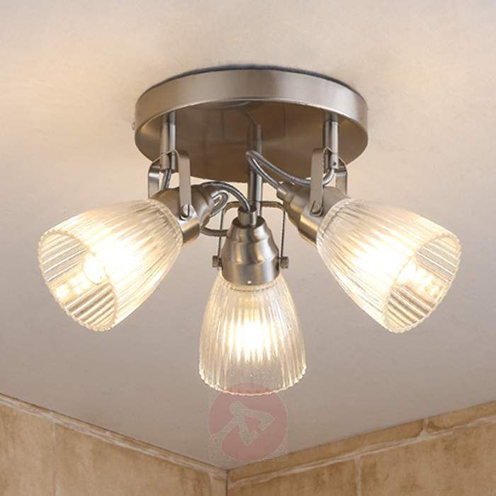 interesting bathroom light fixtures%0A Round LED bathroom ceiling light Kara fluted glass buy