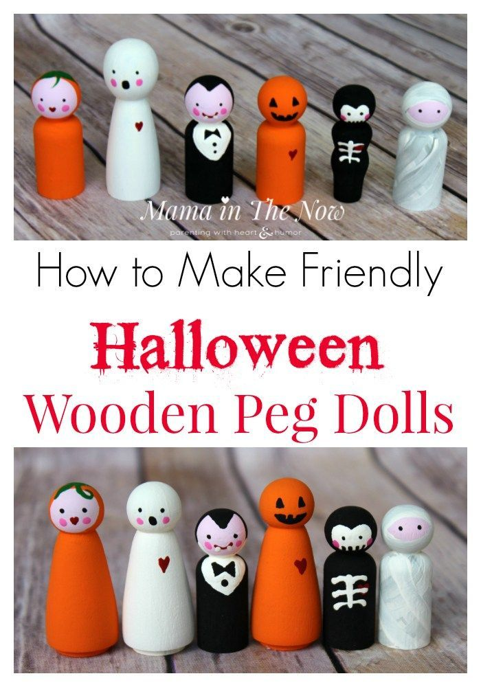 How to Make Friendly Halloween Wooden Peg Dolls Wooden Doll - how to make scary homemade halloween decorations