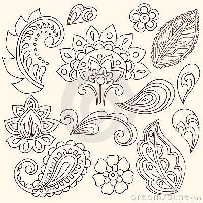 Henna Mehndi Flowers And Paisley Vector Stock Image - Image: 13174221