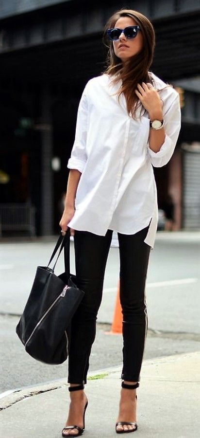 Popular  White Shirt With Cigarette Pants With High Heals Fitted White Shirt