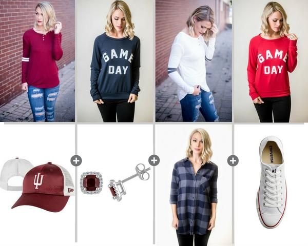 Game Day Should Be Every Day | STB Blog - Single Thread Boutique #game #day #new #styles #arrivals #football #season #NFL #college #high #school #tailgate #apparel #ivory #burgundy #double #stripe #sleeve #top #navy #red #game #day #sweatershirt #IU #Indiana #University #hat #stud #earrings #buffalo #plaid #checkered #flannel #white #converse #accessories #food #beverages #tervis #tumbler #womens #trendy #fall #fashion #blog #blogger #stbblog #singlethreadbtq #shopstb #boutique