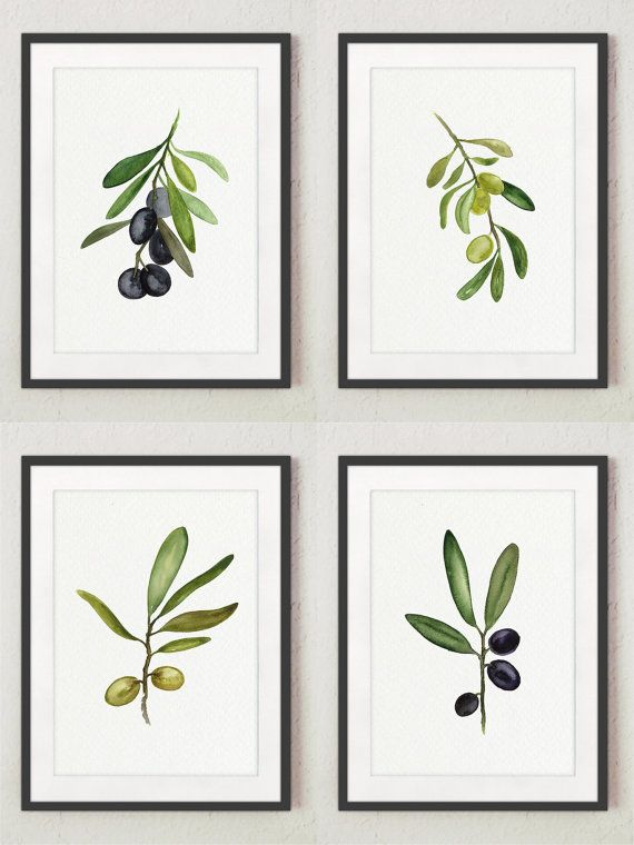 Black and Green Olive Fine Art Print Set of 4. Green Olive Tree Watercolor Painting. Kitchen Art Print Women Gift Idea. Food Decoration Abstract Minimalist Wall Decor. Olives Restaurant or Kitchen Poster. A price is for the set of 4 different Olive Art Prints: 2 Green / Golden Olives and 2 Black / Navy Olives.  Type of paper: Prints up to (42x29,7cm) 11x16 inch size are printed on Archival Acid Free 270g/m2 White Watercolor Fine Art Paper and retains the look of original painting. Larger…