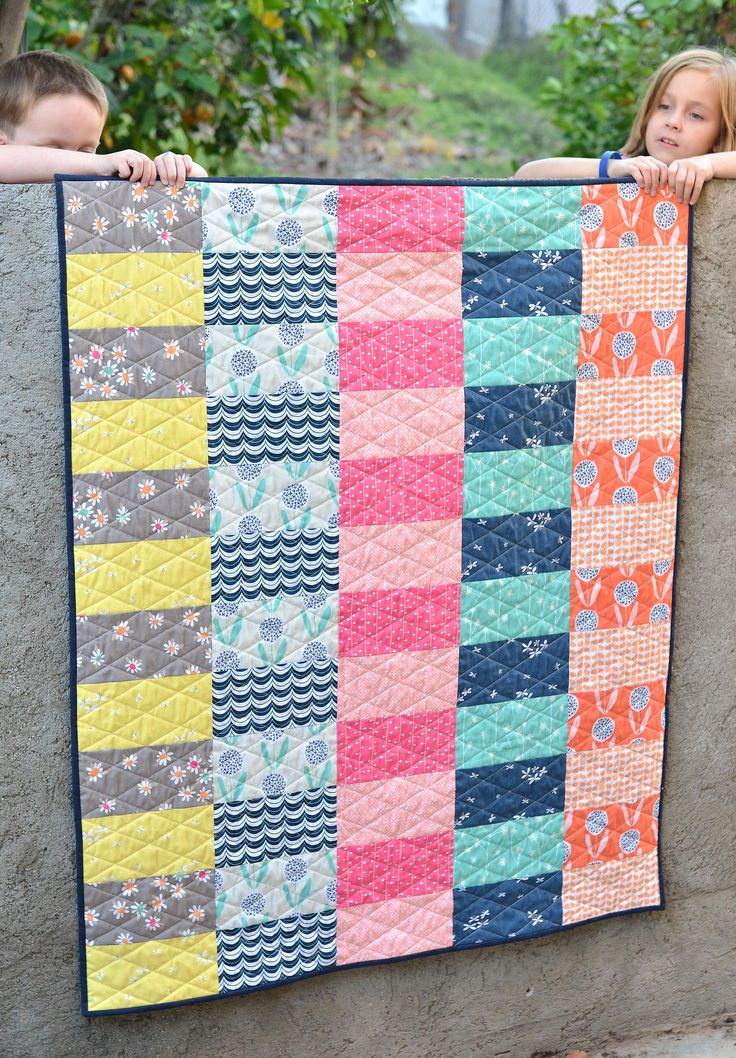 Great quick baby quilt, or for seniors lap quilts. http://www.kitchentablequilting.com/2015/08/super-simple-curiosities-quilt-with.html