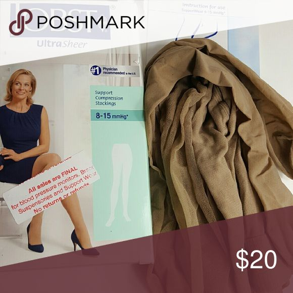 Support Compression Hose Ultra sheer Panty hose for women who need support from vein issues.  8-15 mmhg. Comes with box and directions Jobst Accessories Hosiery & Socks