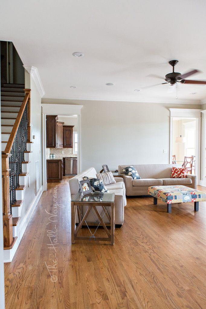 Family Room with Behr Sculptor Clay and Silky White Trim
