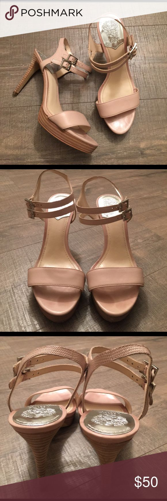 Vince Camuto Renalla cream leather upper heels Gently worn , size 8.5, leather uppers , heel is 4 inches 🌟REASONABLE OFFERS ACCEPTED🌟 Vince Camuto Shoes Heels