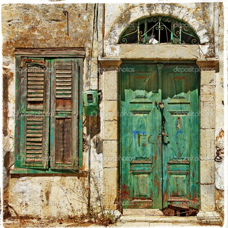 eski kapılar | eski kapılar. Yunanistan - Stok İmaj