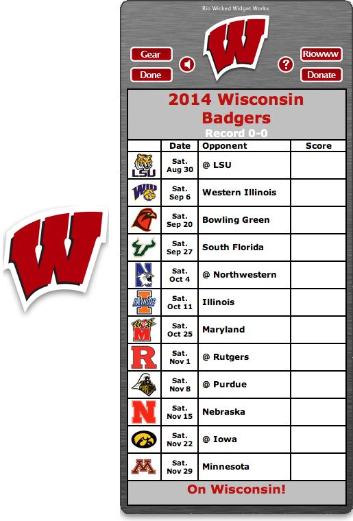 Free 2014 Wisconsin Badgers Football Schedule Widget for Mac OS X - On Wisconsin! http://riowww.com/teamPages/Wisconsin_Badgers.htm