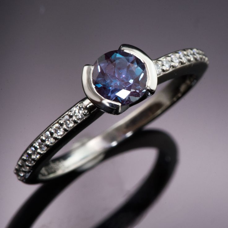 Chatham Alexandrite Half Bezel Diamond Micro Pave Palladium Engagement Ring, Ready to Ship size 5.5-6.5