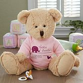 Buy personalized teddy bears for babies - boy and girl designs. Add baby's name and birth info. See more personalized teddy bears at PersonalizationMall.com