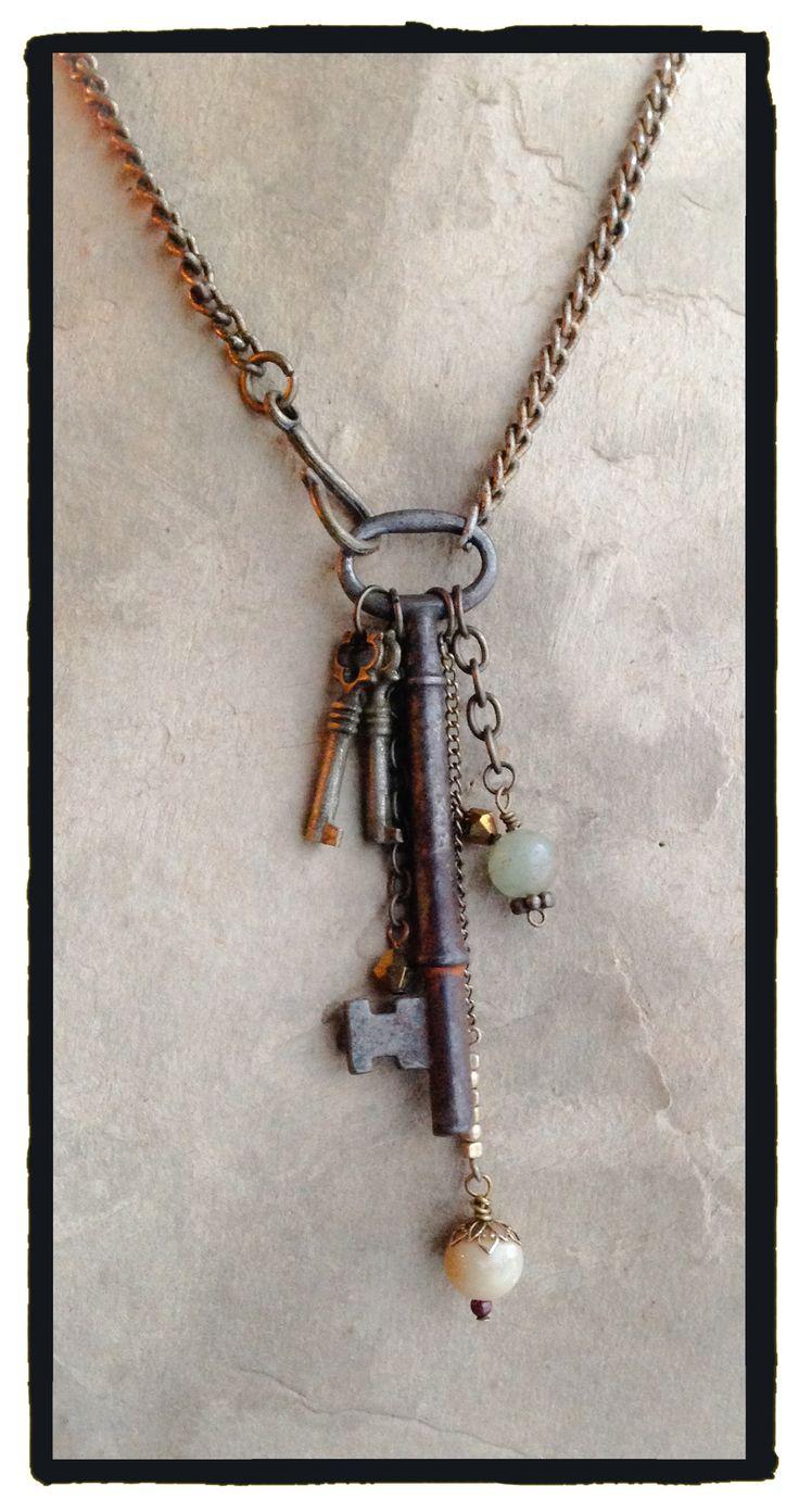 Vintage Skeleton key, two small keys and dangles! - by LjBlock Designs