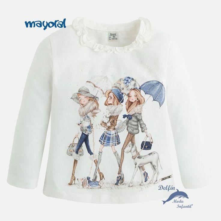 Camiseta de niña MAYORAL manga larga tres niñas con paraguas crudo