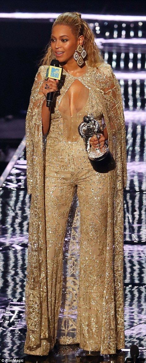 Changing it up: Queen B showed off a couple more outfits when she accepted awards during the night not including her performance looks