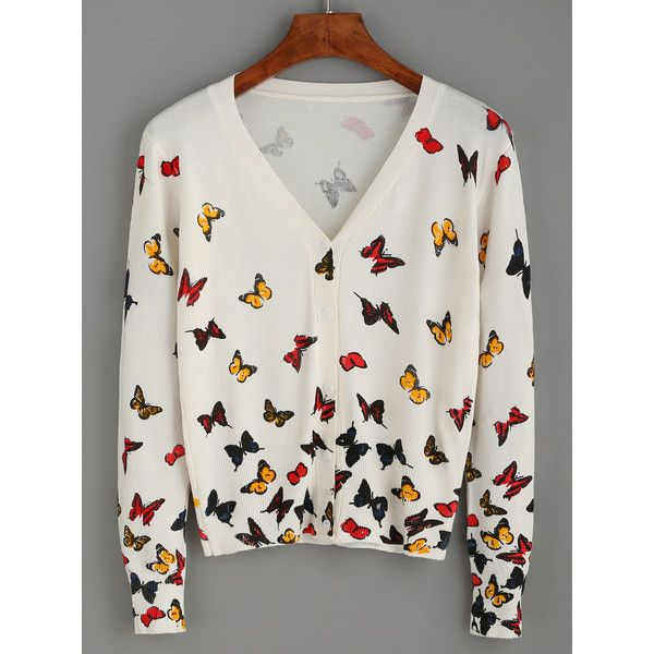 White Butterfly Print V Neck Cardigan (€21) ❤ liked on Polyvore featuring tops, cardigans, white top, v-neck tops, white cardigan, v-neck cardigan and long sleeve cardigan