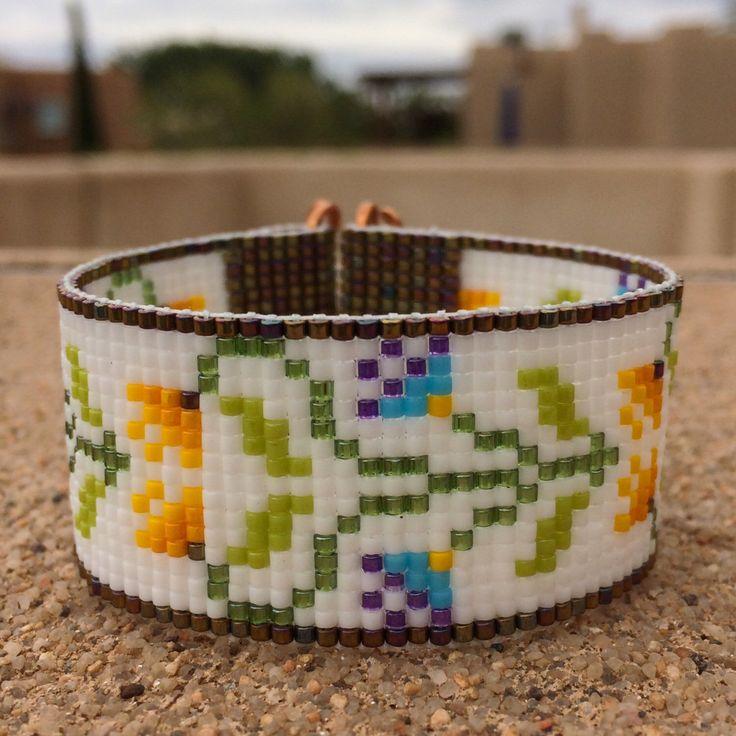 Morning Garden Bead Loom Bracelet Artisanal Jewelry Native Motif Western Beaded Gypsy Boho Bohemian Native American by PuebloAndCo on Etsy https://www.etsy.com/listing/234246759/morning-garden-bead-loom-bracelet