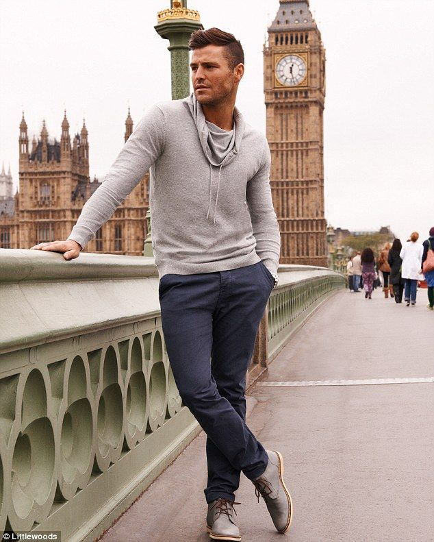 Men's Grey Cowl-neck Sweater, Navy Chinos, Grey Leather Desert Boots