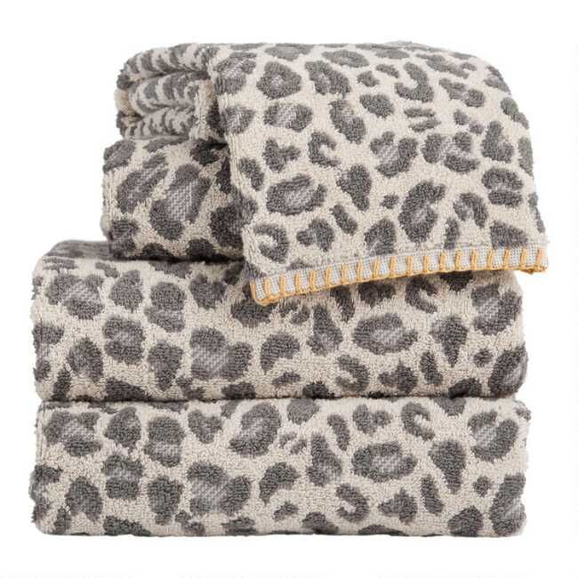 Gray And Ivory Leopard Print Towels In