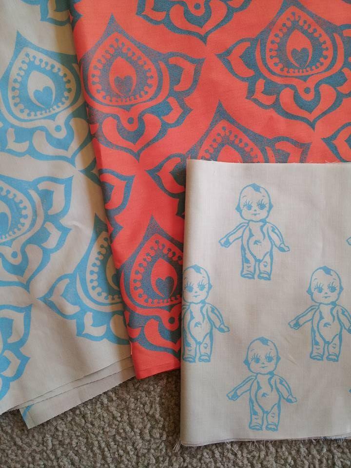 hand carved stamps, permaset aqua ink, cotton poplin fabric