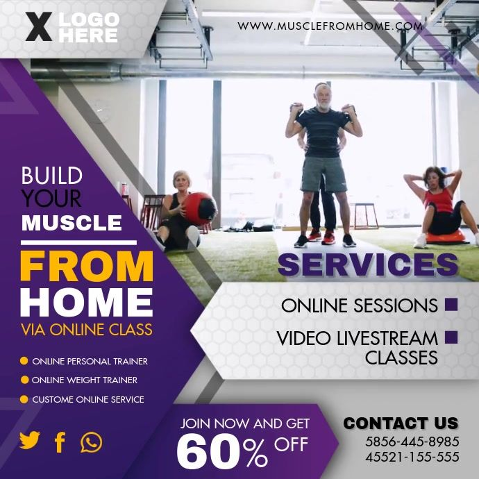 Workout From Home Exercise App Video Ad Workout Apps Workout Posters Online Personal Trainer