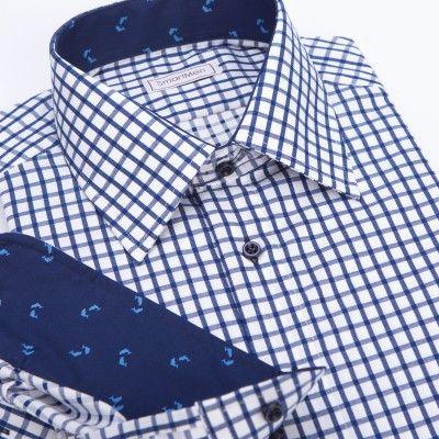 Casual pánská košile modrá károvaná s delfíny