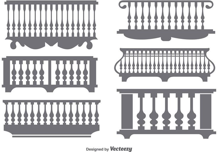 Balcony flat icons. A set of 6 different gray classical balconies.