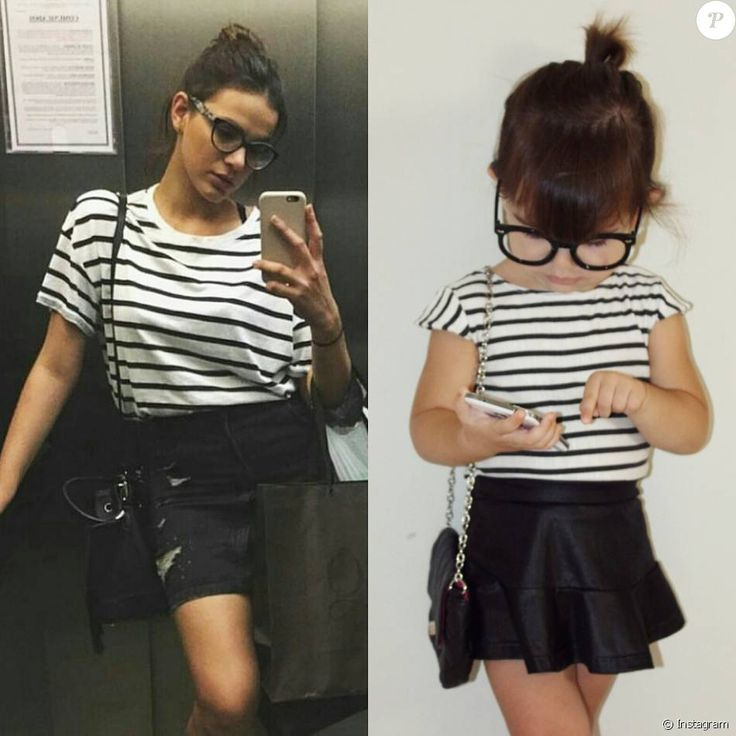 A blusa listrada, a saia e até o óculos de Bruna Marquezine foram inspiração para a pequena Alice