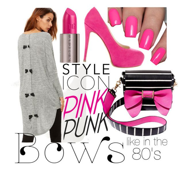 """""""Pink Punk Bows"""" by inauniqe on Polyvore featuring Betsey Johnson, Brian Atwood and Urban Decay"""