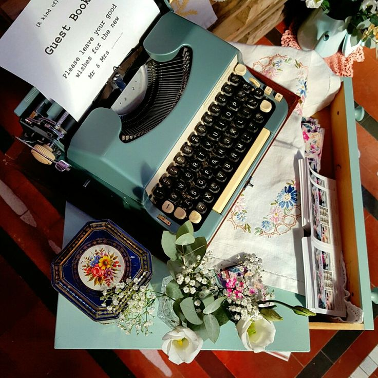 Vintage type writer as an alternative guest book. Guest book table available for hire from Betty Loves Vintage www.bettylovesvintage.co.uk
