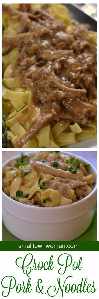 Oh and what comfort food!!  Who could resist slow cooked pork with savory gravy over egg noodles?