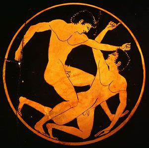 wrestling match, detail of cup by Epictetus, c. 520 bc. Like the modern sport, an athlete needed to throw his opponent on the ground, landing on a hip, shoulder, or back for a fair fall. 3 throws were necessary to win a match. Biting was not allowed, and genital holds were also illegal. Attacks such as breaking your opponent's fingers were permitted.