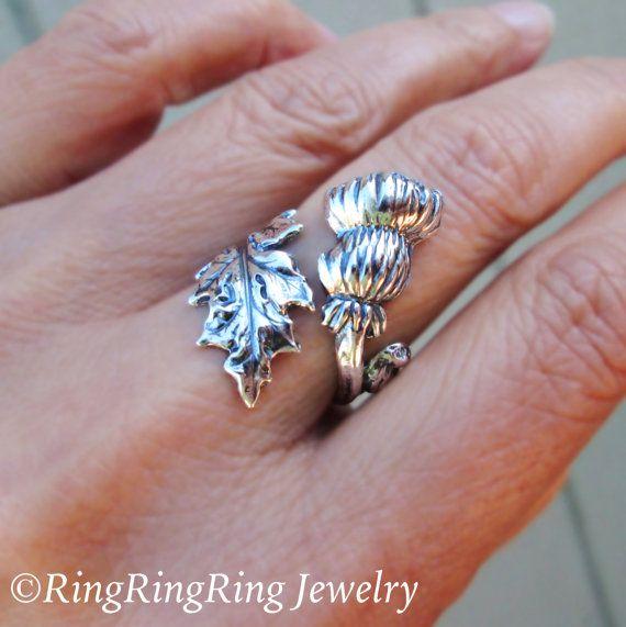 Thistle Ring Sterling Silver ring flower ring por RingRingRing