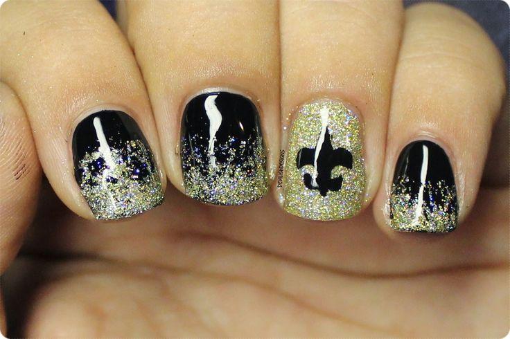 devilishdesigns Sunday Football New Orleans Saints  salon nail art  Saints nails Football