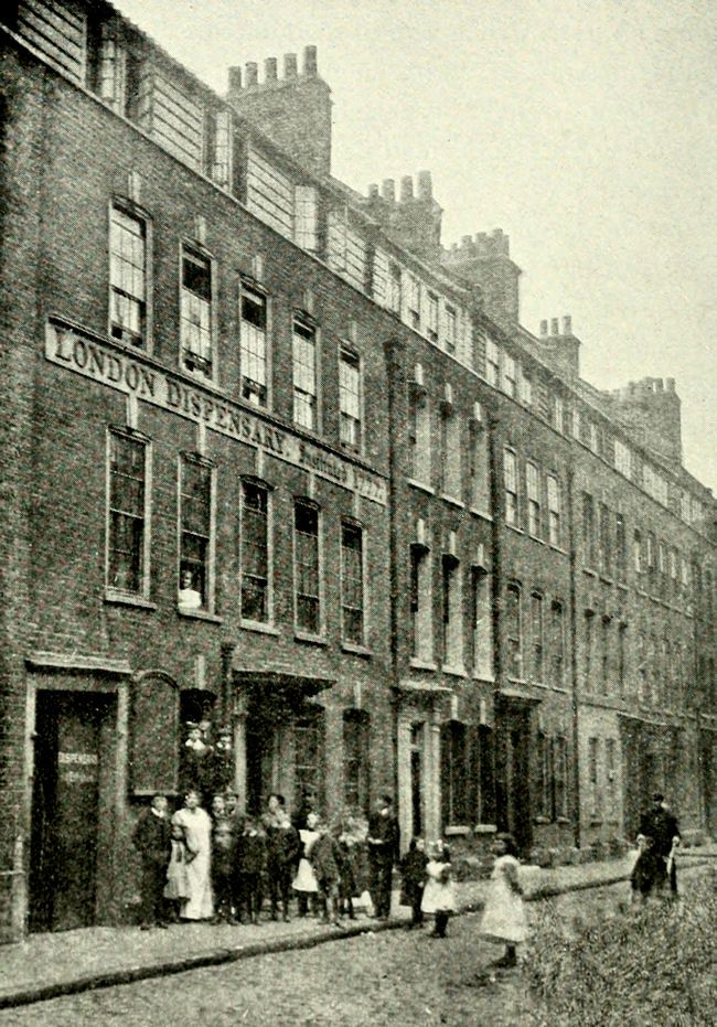 Silk-weavers houses in Church Street, Spitalifields c1900. Note the wide attic windows, necessary to grab every minute of daylight. The London Dispensary is at No.21.