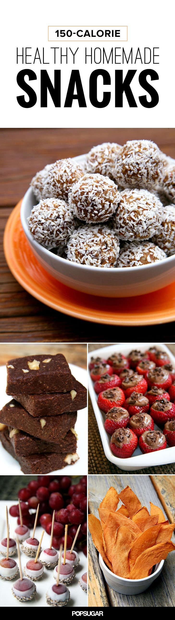 50+ healthy snack recipes, all under 150 calories. Cherry chocolate chip ice cream, chocolate-mousse-filled strawberries, dried cantaloupe, and no-bake brownies.