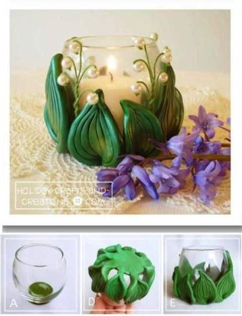 Decorate candle holder with polymer clay More
